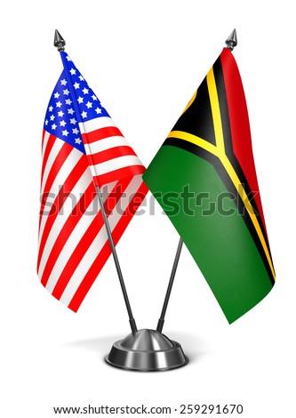 USA and Vanuatu - Miniature Flags Isolated on White Background. - stock photo