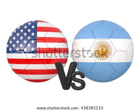 USA / Argentina soccer game 3d illustration - stock photo