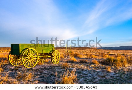 USA, Arizona, a carriage in the Hualapa Ranch at dawn