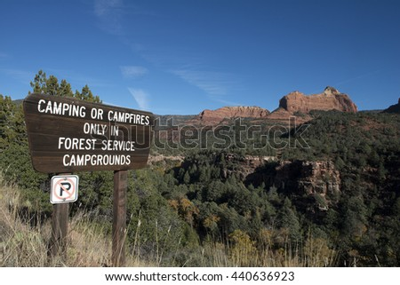 USA, ARIZONA,SEDONA, 2014-11-09: Sign with camping restrictions in the mountains near Sedona