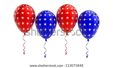 USA Balloons, 4th july, isolated - stock photo