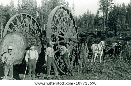 USA - CALIFORNIA - CIRCA 1895 A vintage photo of occupational lumberjacks working on moving a log with big wheel and horses which was used to transport lumber. Photo from the Victorian era. CIRCA 1895 - stock photo