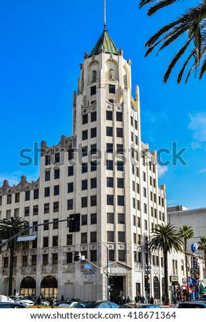 USA, California, Los Angeles, Hollywood, 29 Janua 2015 . Hollywood First National Building, Hollywood, Los Angeles, California, USA - stock photo