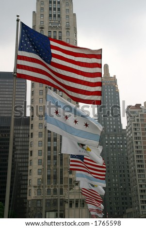 USA-Chicago-Illinois Flags - Patriotic display along the Magnificent Mile