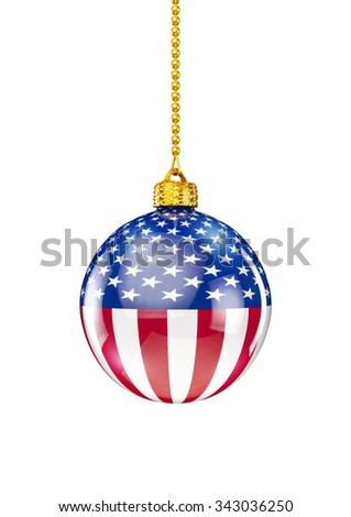 USA christmas ornament / 3D render of christmas ornament with American flag - stock photo