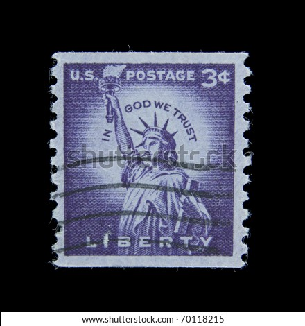USA-CIRCA 1958: A post stamp  printed in USA dedicated to The Statue of Liberty (Liberty Enlightening the World) in New York, circa 1958. - stock photo