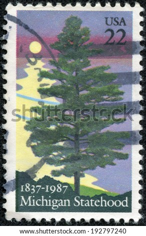 USA - CIRCA 1987: A postage stamp printed in the USA, is dedicated to Michigan Statehood sesquicentennial, shows White Pine, circa 1987 - stock photo