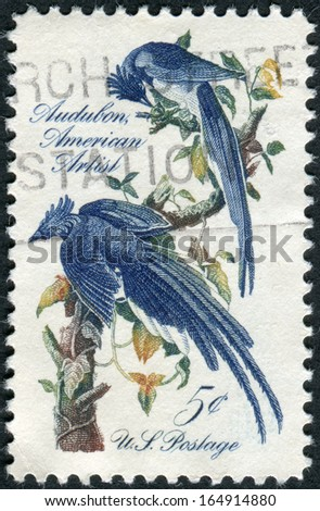 USA - CIRCA 1963: A postage stamp printed in the USA, John J. Audubon Issue, shows Columbia Jays by design is from a mural by Howard Pyle, circa 1963 - stock photo