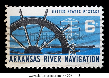 USA - CIRCA 1968: A postage stamp printed in United States shows boats on the Arkansas River as part of the inland waterway navigation system on Oklahoma, Arkansas and Mississippi Rivers, circa 1968
