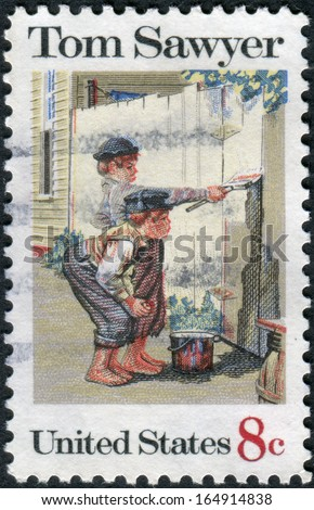 "USA - CIRCA 1972: A postage stamp printed in USA, American Folklore Issue, shows Tom Sawyer, by Norman Rockwell, circa 1972. Tom Sawyer, hero of ""The Adventures of Tom Sawyer,"" by Mark Twain - stock photo"