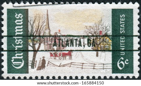 USA - CIRCA 1969: A postage stamp printed in USA (overprint ATLANTA, GA), Christmas Issue, shows Winter Sunday in Norway, Maine, circa 1969