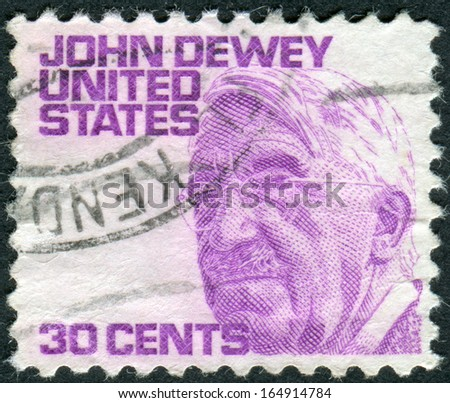 USA - CIRCA 1968: A postage stamp printed in USA, shows a portrait of an American philosopher, psychologist, and educational reformer, John Dewey, circa 1968 - stock photo