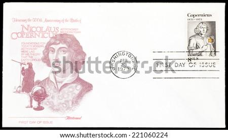 USA - CIRCA 1973: A postage stamp printed in USA, shows Nicolaus Copernicus, Polish astronomer, circa 1973 - stock photo