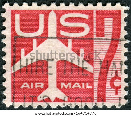 USA - CIRCA 1958: A postage stamp printed in USA, shows the silhouette of a jet airplane, circa 1958 - stock photo