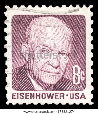 USA-CIRCA 1971: A postage stamp shows image portrait of Dwight Eisenhower the 34th President of the United States of America, circa 1971. - stock photo
