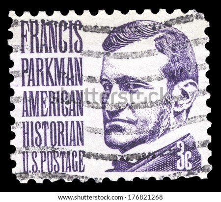 USA-CIRCA 1967: A postage stamp shows image portrait of Francis Parkman a famous American historian and Professor of Horticulture at Harvard University, circa 1967. - stock photo