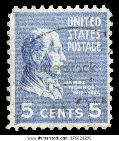USA-CIRCA 1938: A postage stamp shows image portrait of James Monroe the 5th President of the United States of America, circa 1938.