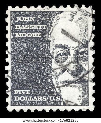 USA-CIRCA 1966: A postage stamp shows image portrait of John Bassett Moore a famous American judge and the first US judge to serve on the Permanent Court of International Justice, circa 1966.