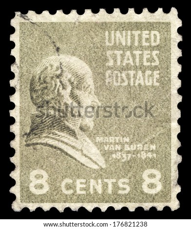 USA-CIRCA 1938: A postage stamp shows image portrait of Martin Van Buren the 8th President of the United States of America, circa 1938. - stock photo