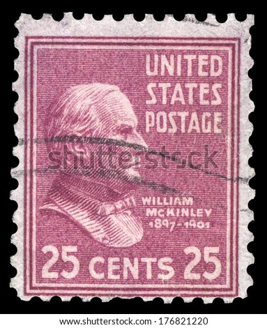 USA-CIRCA 1938: A postage stamp shows image portrait of William McKinley the 25th President of the United States of America, circa 1938.