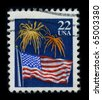 USA - CIRCA 1980: A stamp dedicated to The national flag of the United States of America,  circa 1980 - stock photo