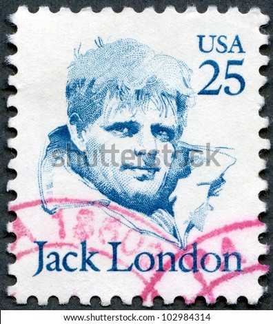 USA - CIRCA 1986: A stamp printed by USA, shows Jack London (1876 - 1916), series Great Americans, circa 1986