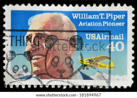USA - CIRCA 1991 : a stamp printed in the United States of America shows William T. Piper and Piper Cub, Aviation Pilot, circa 1991