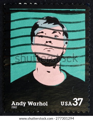 USA - CIRCA 2002: a stamp printed in the USA shows Andy Warhol, American Artist, a Leading Figure in the Visual Art Movement known as Pop Art, circa 2002 - stock photo