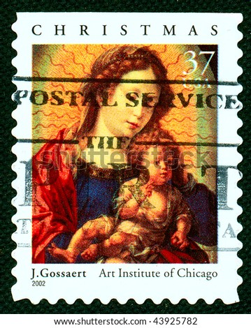USA - CIRCA 2002: A stamp printed in the  USA shows Christmas scene - Mother of God with child, circa 2002
