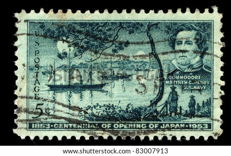 USA - CIRCA 1953: A stamp printed in the USA shows Commodore Matthew C.Perry, US Navy, 1853 Centennial of opening of Japan, 1953, circa 1953