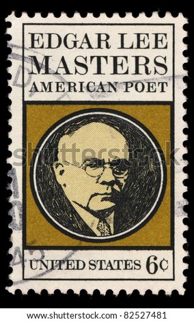 USA - CIRCA 1970 : A stamp printed in the USA shows Edgar Lee Masters portrait, American Poet, circa 1970