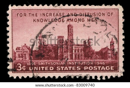 USA - CIRCA 1946: A stamp printed in the USA shows For the increase and diffusion of knowledge among men, Smithsonian institution, 1846-1946), circa 1946