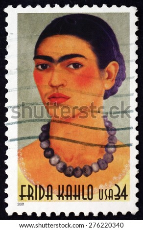 USA - CIRCA 2001: a stamp printed in the USA shows Frida Kahlo, Mexican Painter, circa 2001 - stock photo