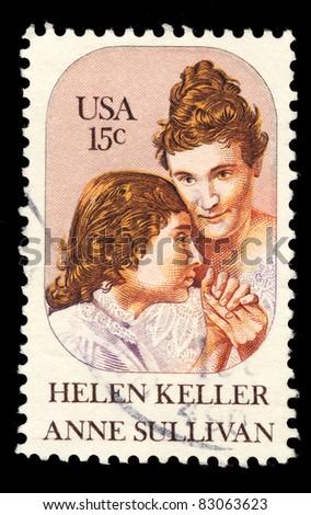 USA - CIRCA 1980 : A stamp printed in the USA shows Helen Keller & anne sullivan, circa 1980 - stock photo