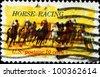 USA - CIRCA 1974 : A stamp printed in the USA shows Horse Racing, circa 1974 - stock photo