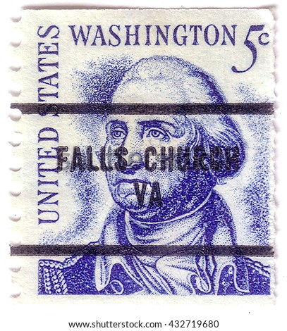USA - CIRCA 1950: A stamp printed in the USA shows image portrait George Washington, circa 1950. - stock photo