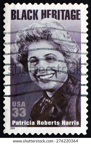 USA - CIRCA 2000: a stamp printed in the USA shows Patricia Roberts Harris, First Black Woman Cabinet Secretary, Black Heritage, circa 2000 - stock photo