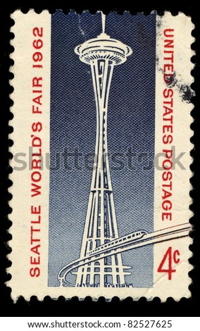 USA - CIRCA 1962 : A stamp printed in the USA shows Seattle world's fair 1962, circa 1962 - stock photo