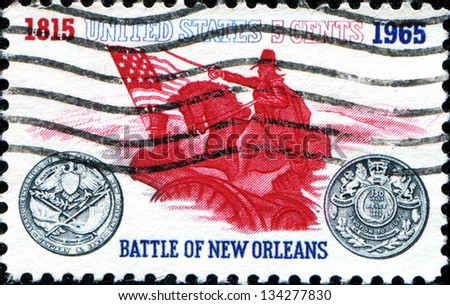 USA - CIRCA 1965: A stamp printed in United States of America dedicated Battle of New Orleans. General Andrew Jackson and Sesquicentennial Medal, circa 1965
