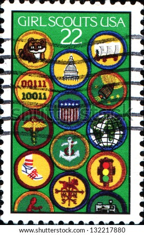 USA - CIRCA 1987: A stamp printed in United States of America dedicated to the 75th anniversary of Girl Scouts, shows the Achievement Badges, circa 1987 - stock photo
