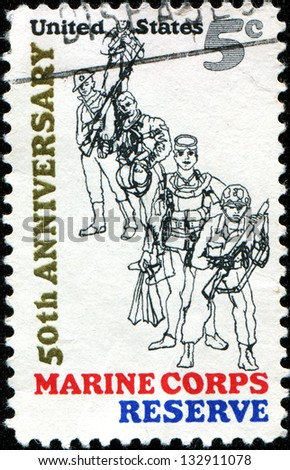 "USA - CIRCA 1966: A stamp printed in United States of America shows Combat Marine, 1966; Frogman; WW II Flier; WW I ""Devil Dog"" and Marine, 50th anniversary of founding of U.S. Marine Corps Reserve - stock photo"