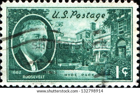 USA - CIRCA 1945: A stamp printed in United States of America shows Franklin D. Roosevelt and Hyde Park Home, circa 1945