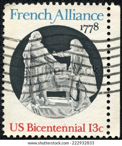 USA -CIRCA 1978: A stamp printed in United States of America shows French Alliance 1778, Circa 1978