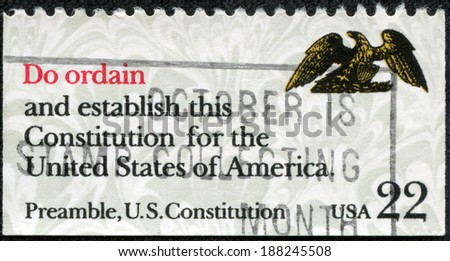 USA - CIRCA 1980: A stamp printed in United States of America shows image of the dedicated to the US Constitution circa 1980 - stock photo