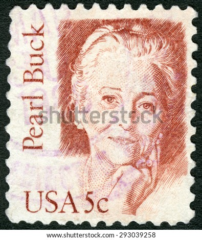 USA - CIRCA 1980: A stamp printed in United States of America shows Pearl Sydenstricker Buck (1892-1973), writer and novelist, series Great Americans, circa 1980 - stock photo