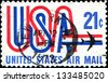 """USA - CIRCA 1968: A stamp printed in United States of America shows shows """"USA"""" and jet airliner silhouette, with inscription and name of series """"Air Mail"""" circa 1968 - stock photo"""