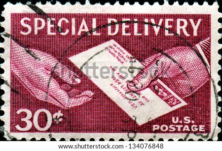 USA - CIRCA 1954: A stamp printed in United States of America shows Special Delivery Letter, Hand to Hand, series, circa 1954