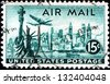 USA - CIRCA 1947: A stamp printed in United States of America shows Statue of Liberty on the background the skyscrapers of New York, airliner Lockheed Constellation, circa 1947 - stock photo