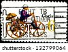 USA - CIRCA 19: A stamp printed in United States of America shows toy tricycle with a man on top, Christmas Stamp, circa 1970 - stock photo