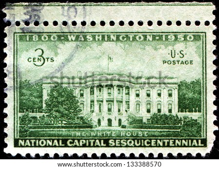 USA - CIRCA 1950: A stamp printed in United States of America shows White House, Washington, Netional Capital Sesquicentennial, circa 1950